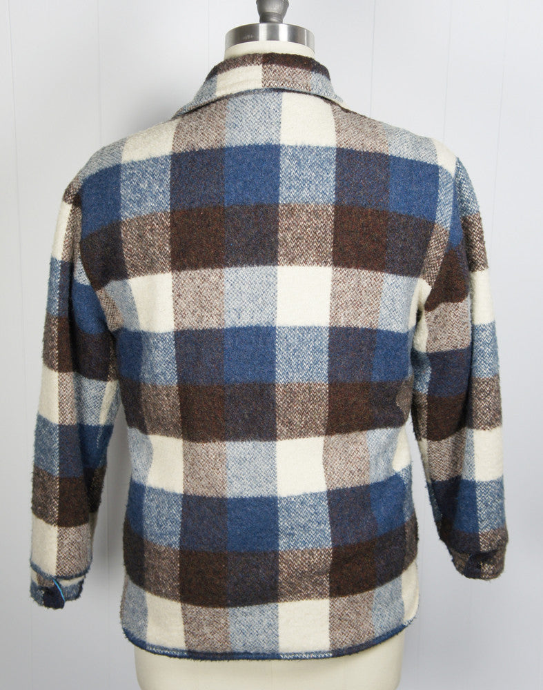 1960's Blue, Brown & Off White Checkered Flannel Shirt Jacket - Size M