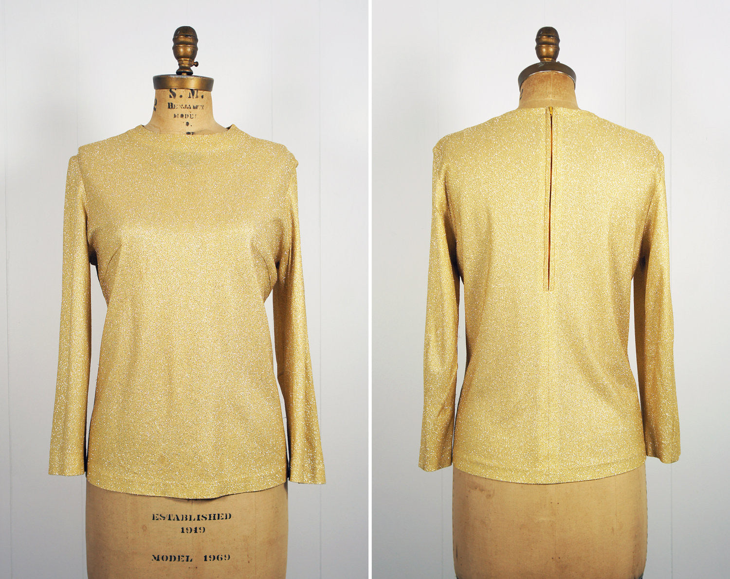1980's Gold Glitter Long Sleeve Sparkle Top, Size L