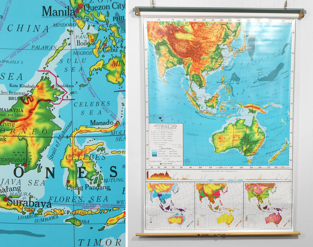 1980's Southeast Asia & Australia Pull Down Classroom Map