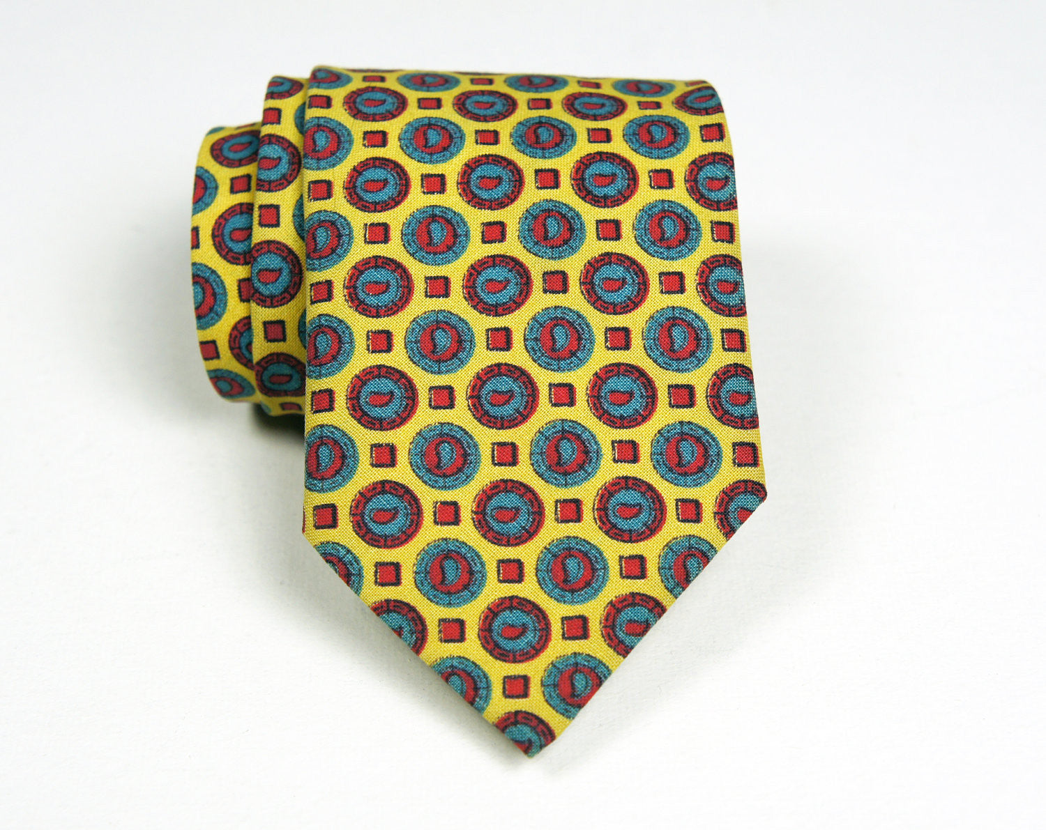 1960's Bright Yellow, Red & Blue Skinny Necktie