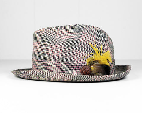 1950's Pink, Black & White Striped Fedora - Size 7