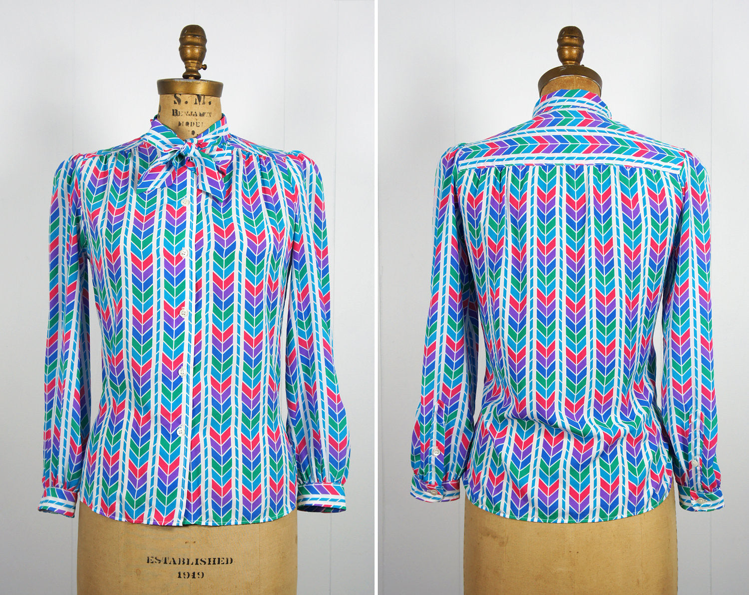 1970's Rainbow Chevron Secretary Bow Blouse, Size M
