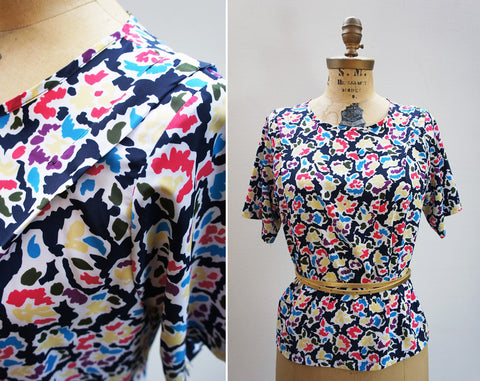 1980's Painterly Floral Short Sleeve Blouse, Size M