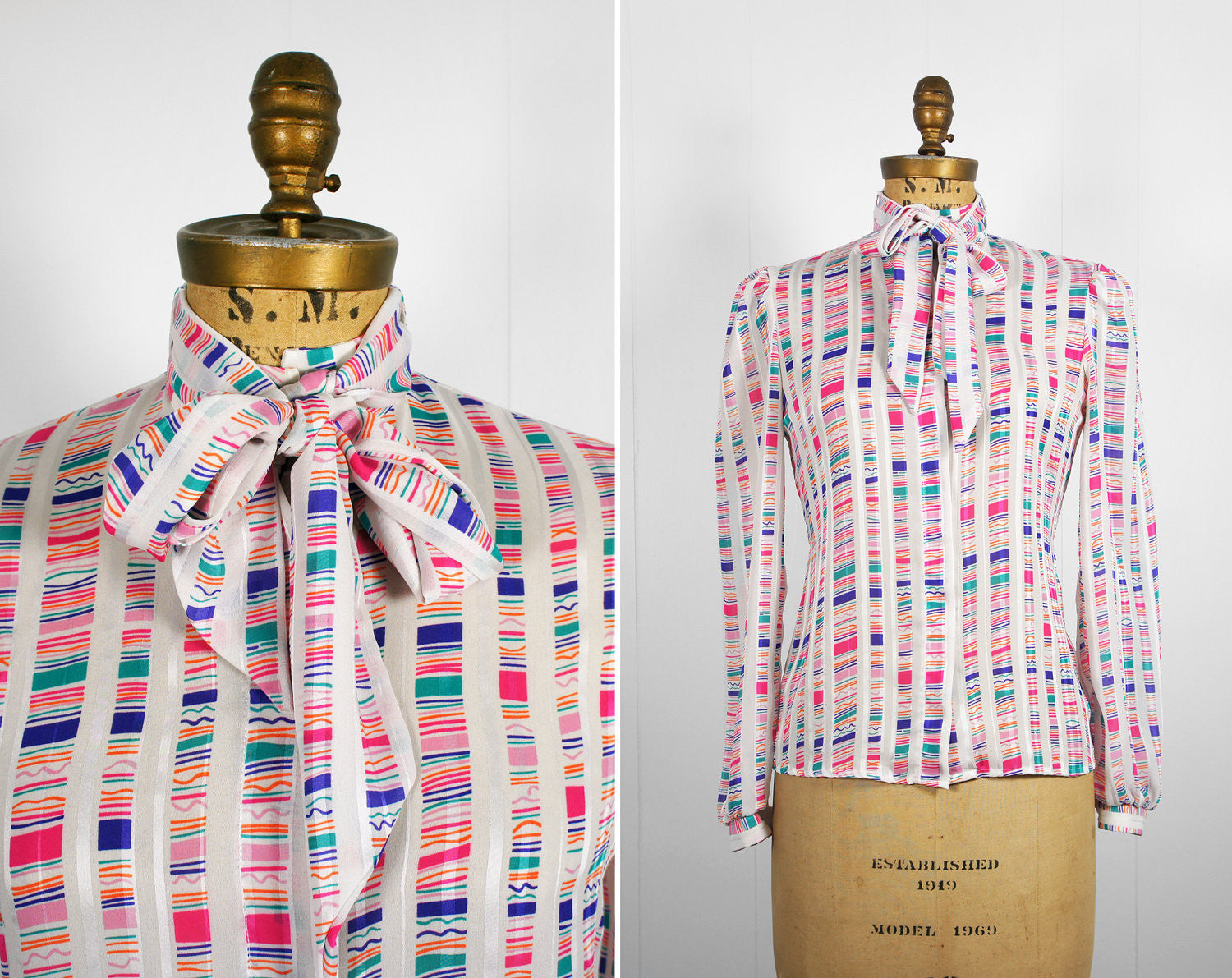 1970's Rainbow Striped Secretary Bow Blouse, Size S