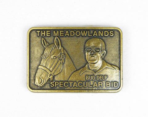 1980's Horse Racing Belt Buckle - Spectacular Bid & Bud Delp