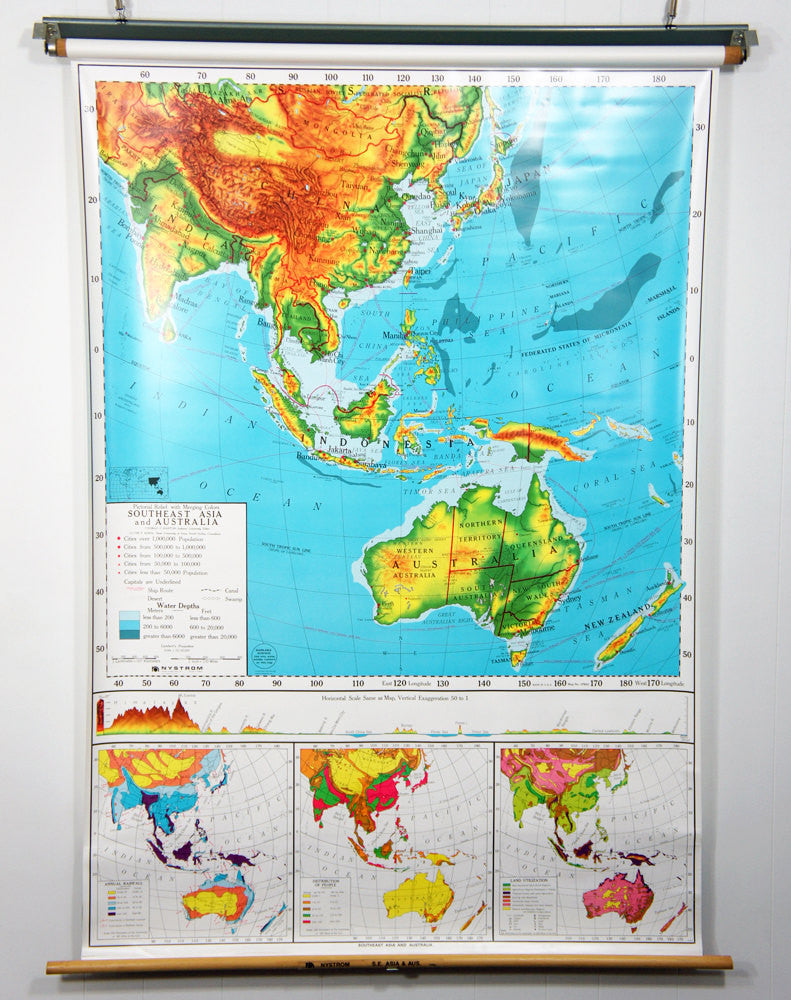 1980\'s Southeast Asia & Australia Pull Down Classroom Map