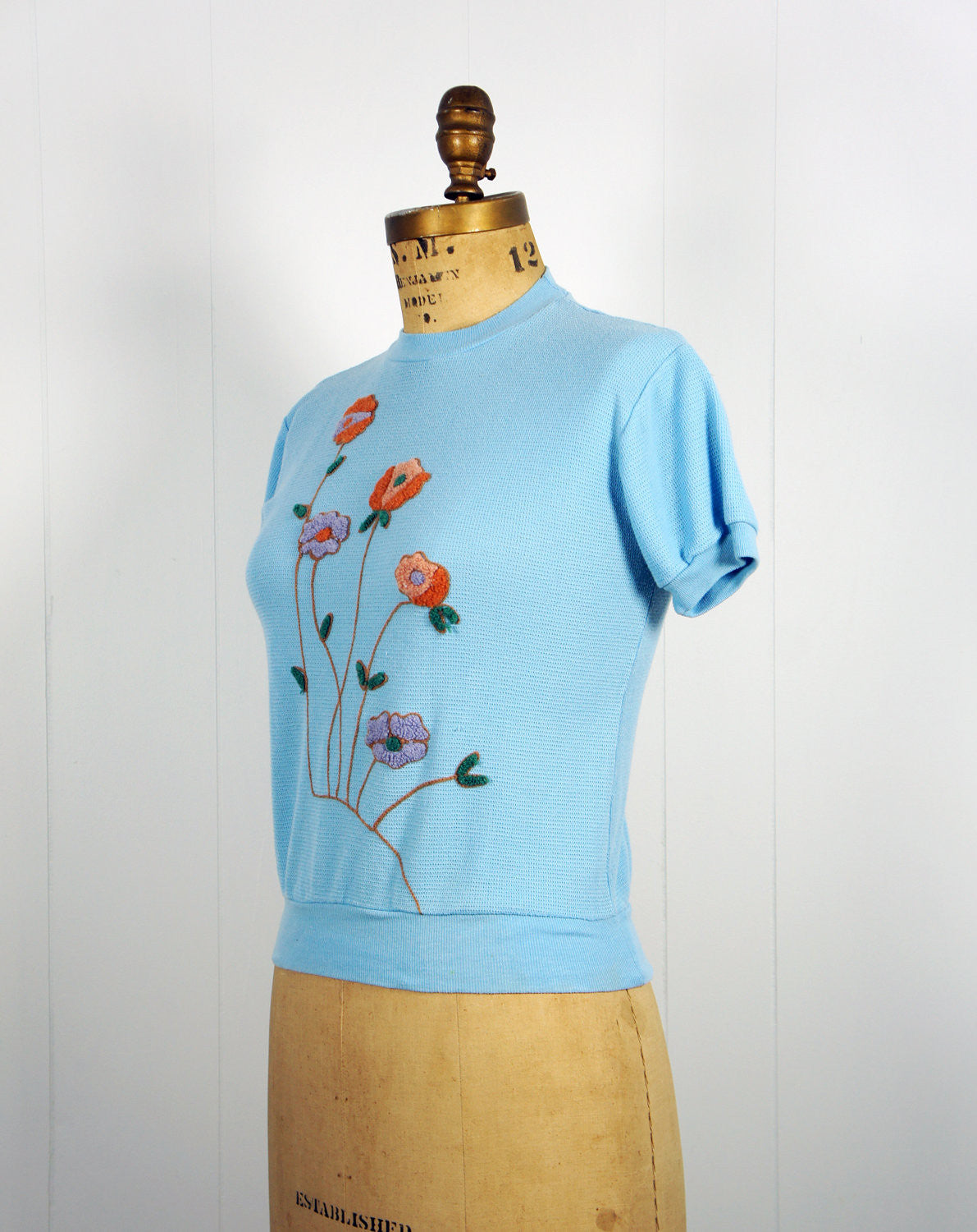 1970's Light Blue Thermal Top w/ Floral Embellishments - Size S