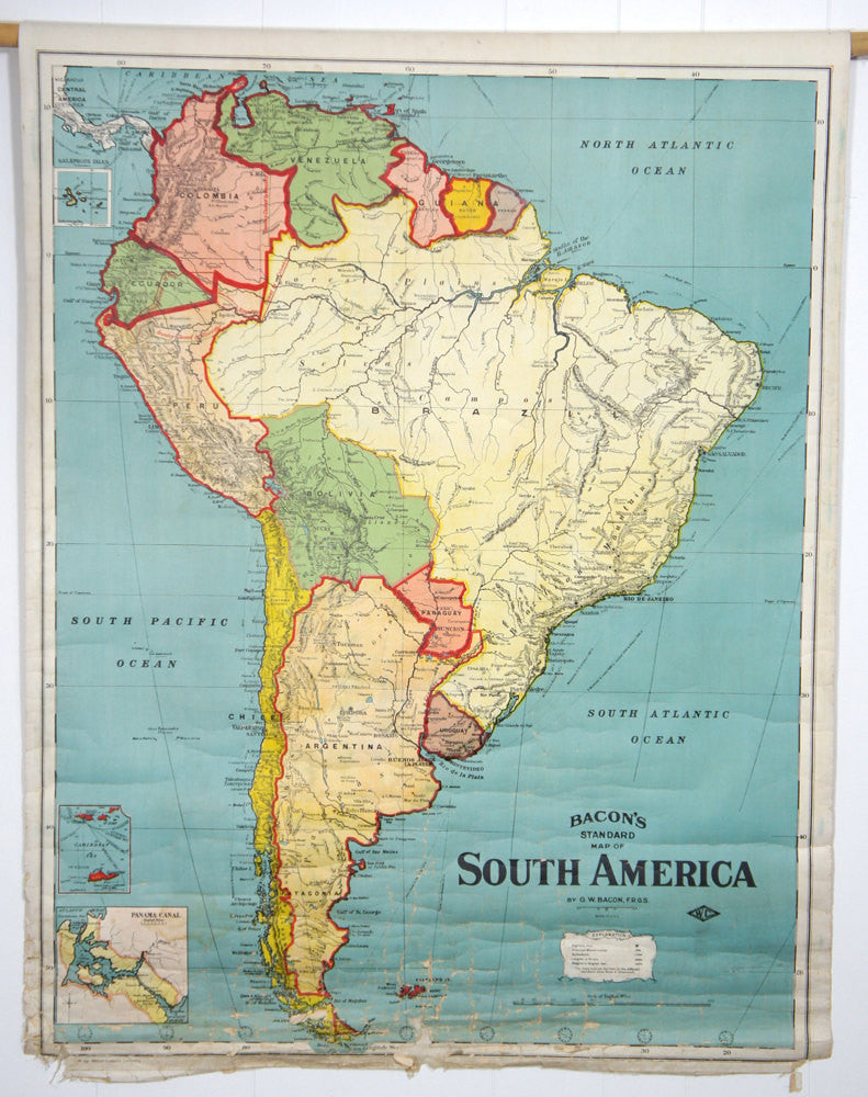 Early 1900\'s South America Pull Down Classroom Map