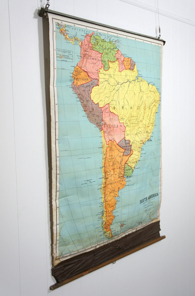 Early 1900's South America Pull Down Classroom Map