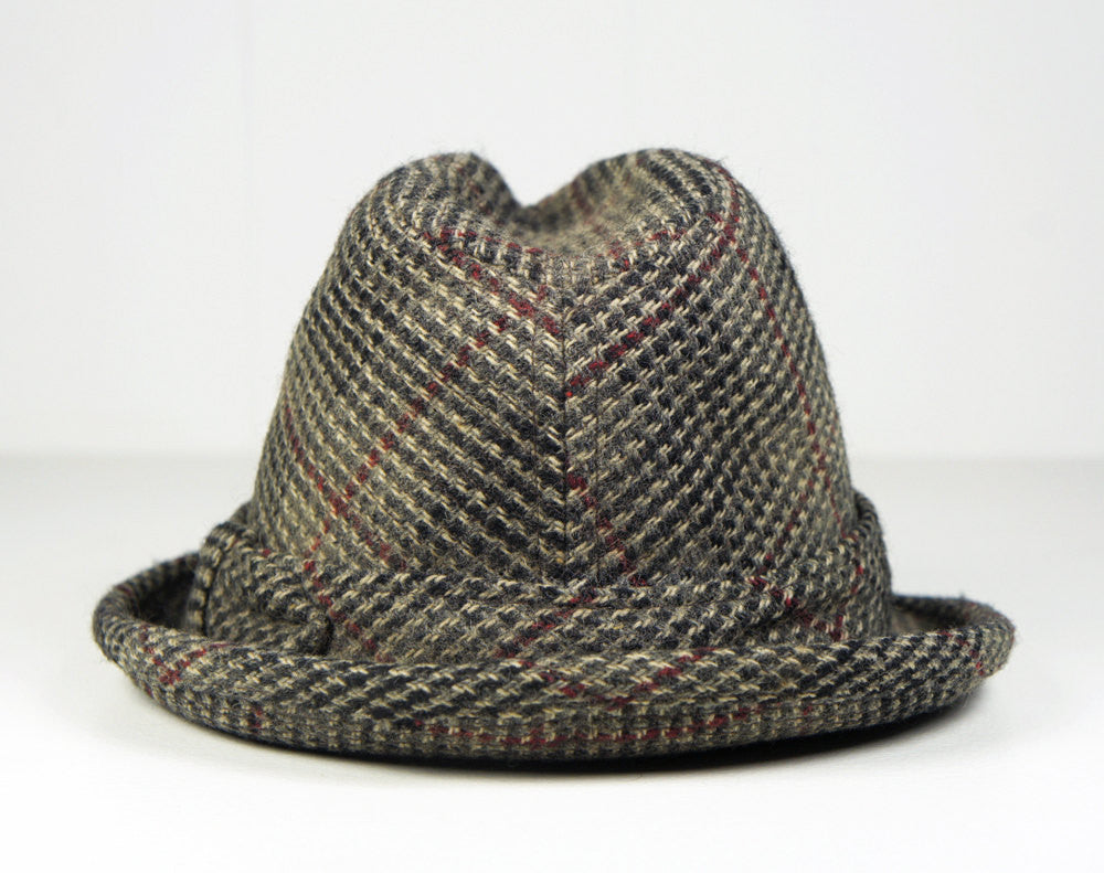 1950's Gray Tweed Wool Fedora - Size 6 7/8