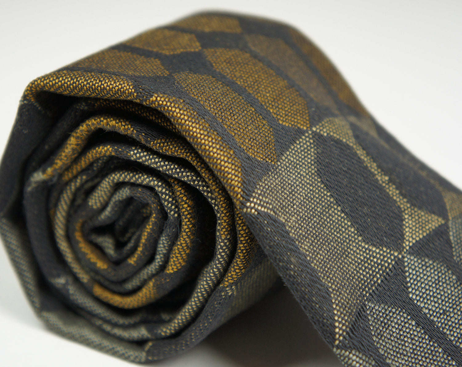 1960's Black, Gold & Silver Rooster Square End Necktie