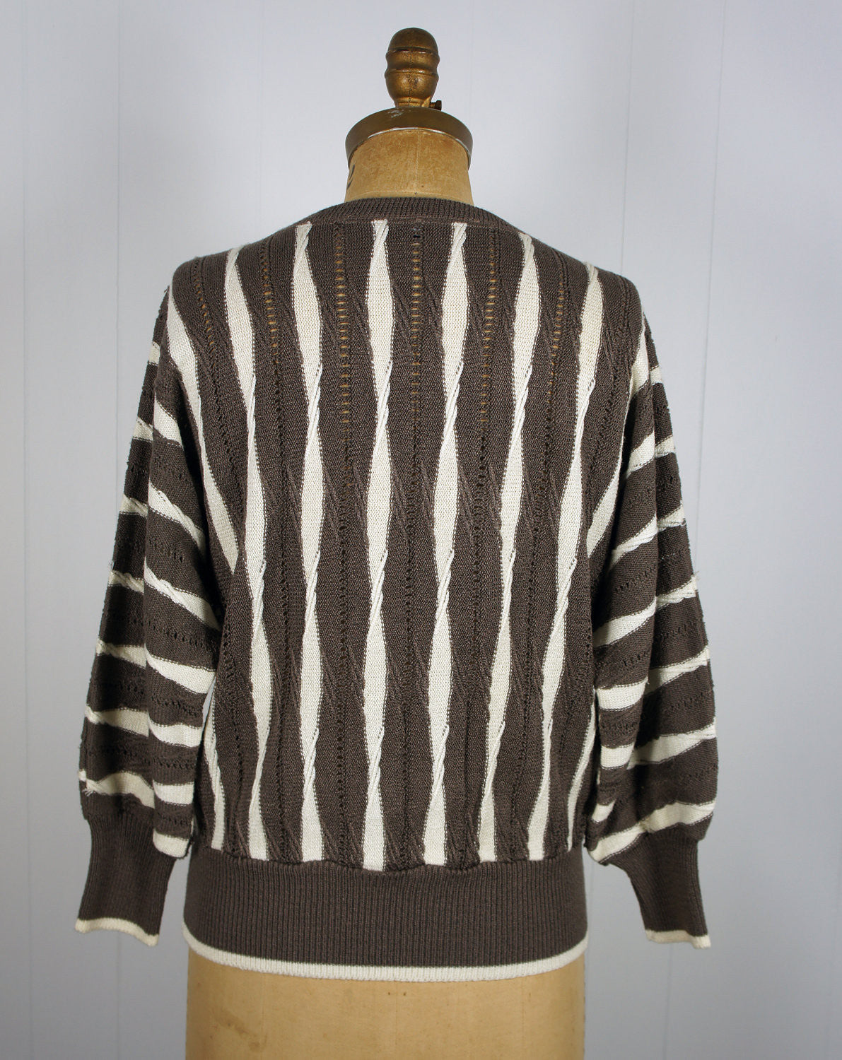 1980's Brown & White Striped Eyelet Knit Sweater, Size M / L