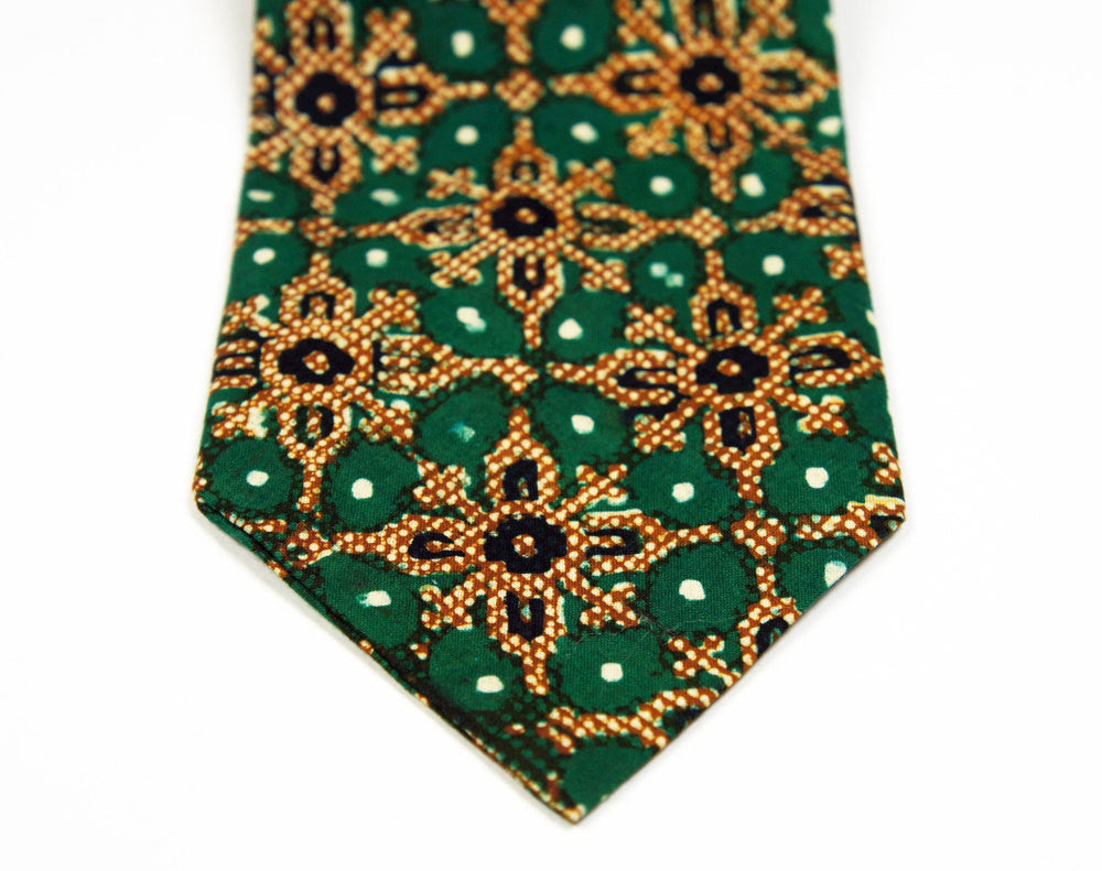 1960's Green, Gold & Black Necktie w/ Star Pattern