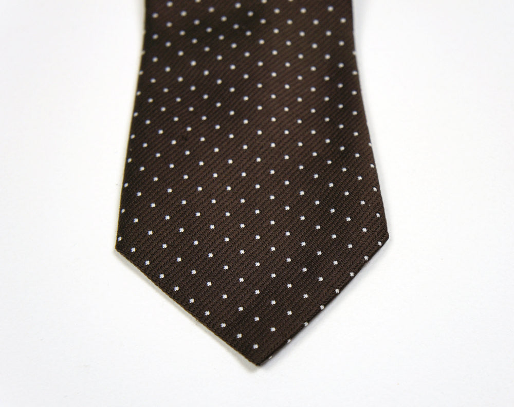 1970's Brown & White Polka Dot Necktie