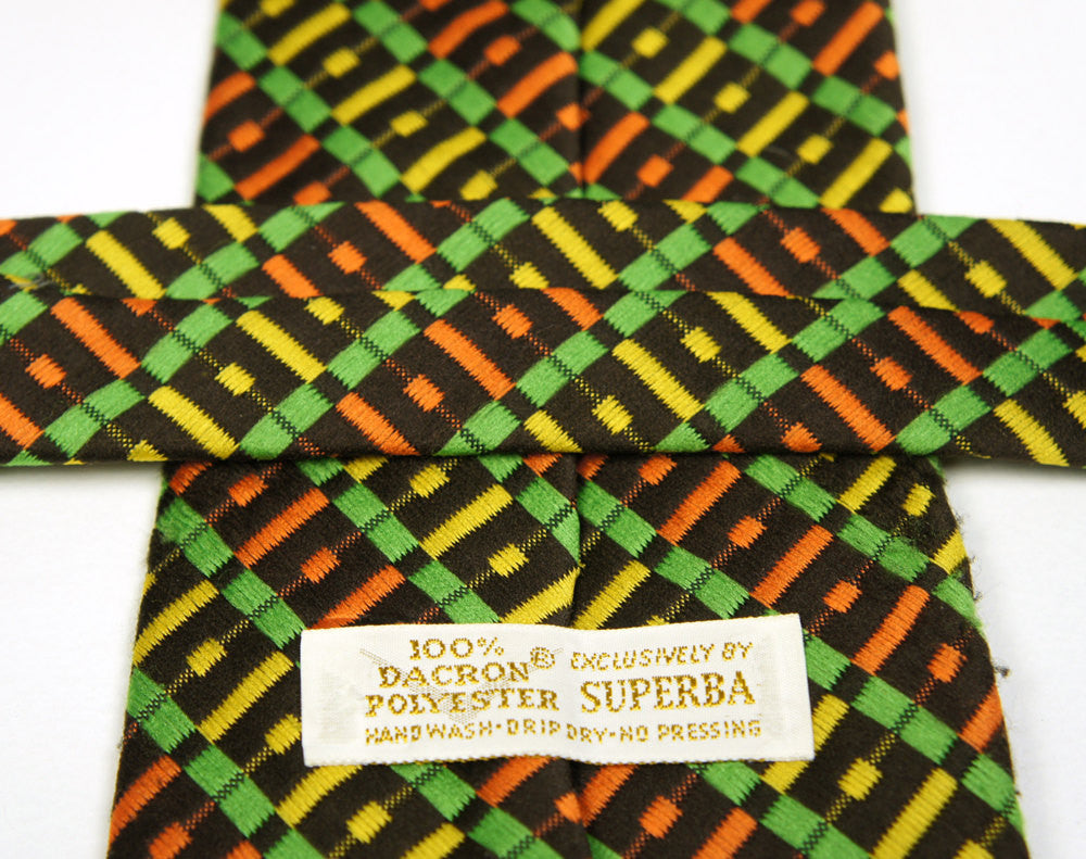 1970's Brown, Orange & Lime Green Wide Necktie