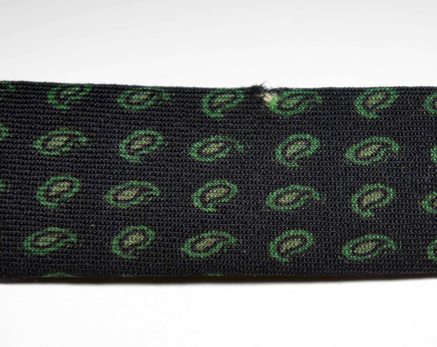 1950's Dark Blue and Green Paisley Skinny Necktie