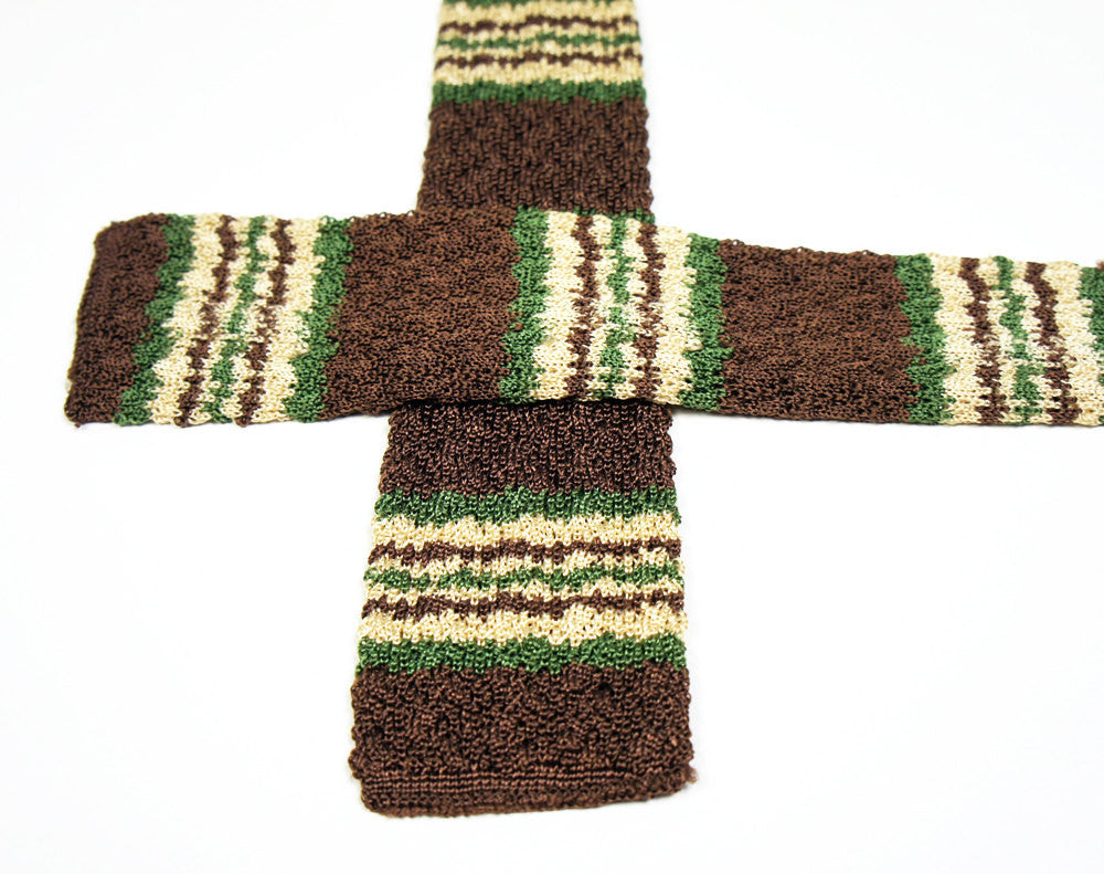 1950's Brown, Forest Green & Beige Square End Skinny Necktie