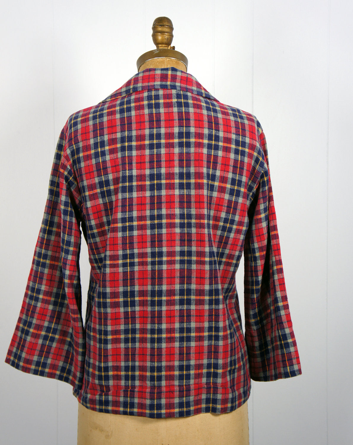 1970's Red, Blue & Yellow Striped Plaid Pullover Shirt, Size M