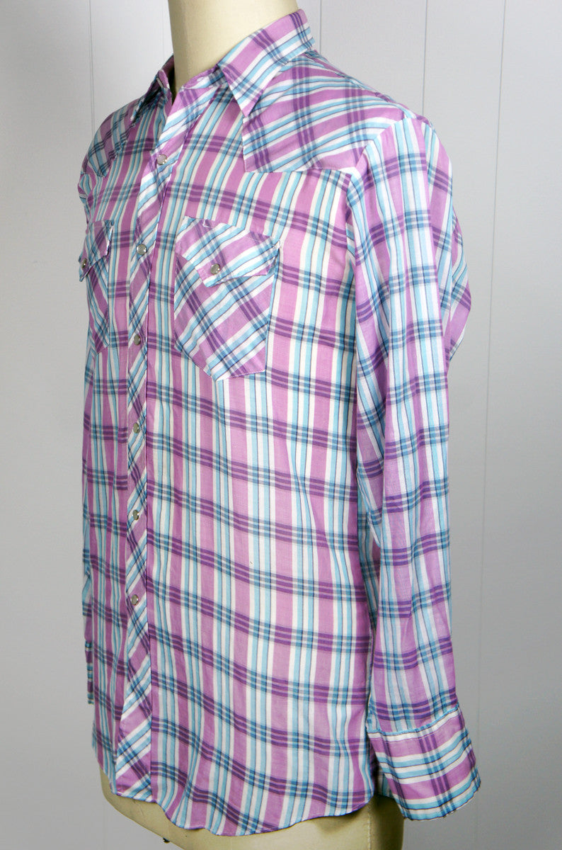 Violet & Blue Striped Western Pearl Snap Shirt - Size L