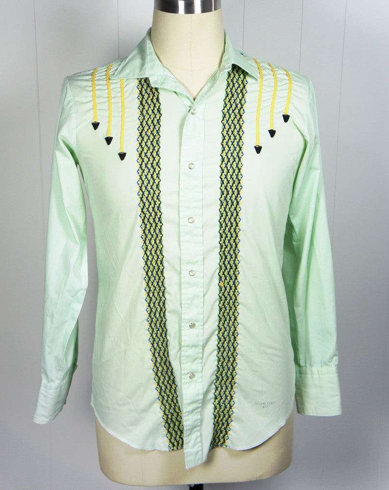 Lime Green Western Pearl Snap Shirt w/ Embroidery - Size M