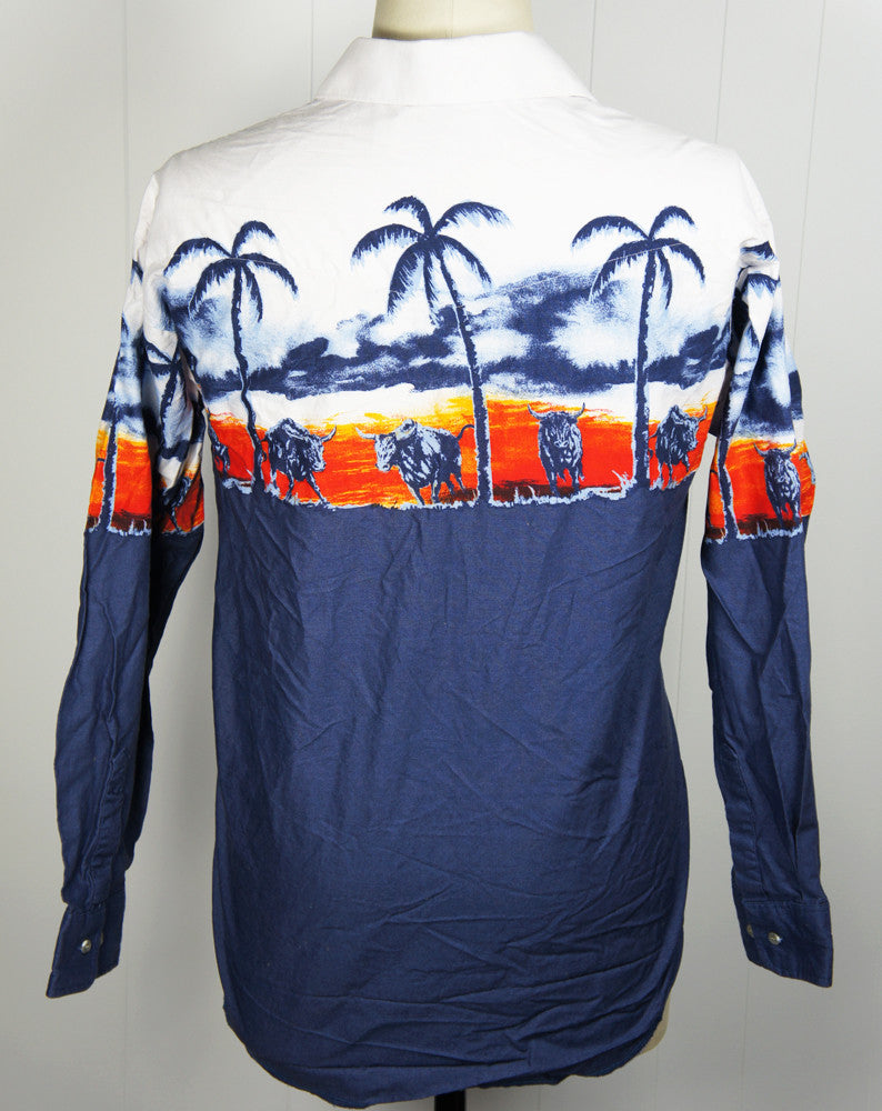 Button Up Western Shirt w/ Longhorn Steer & Palm Trees - Size L