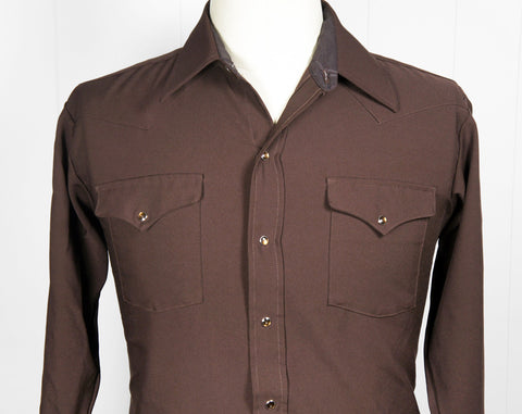 1970's Brown Polyester Western Pearl Snap Shirt - Size L