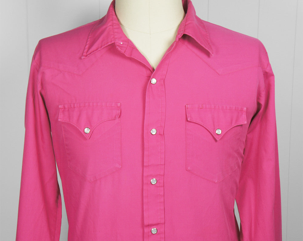 Hot Pink H Bar C Western Pearl Snap Shirt - Size XL