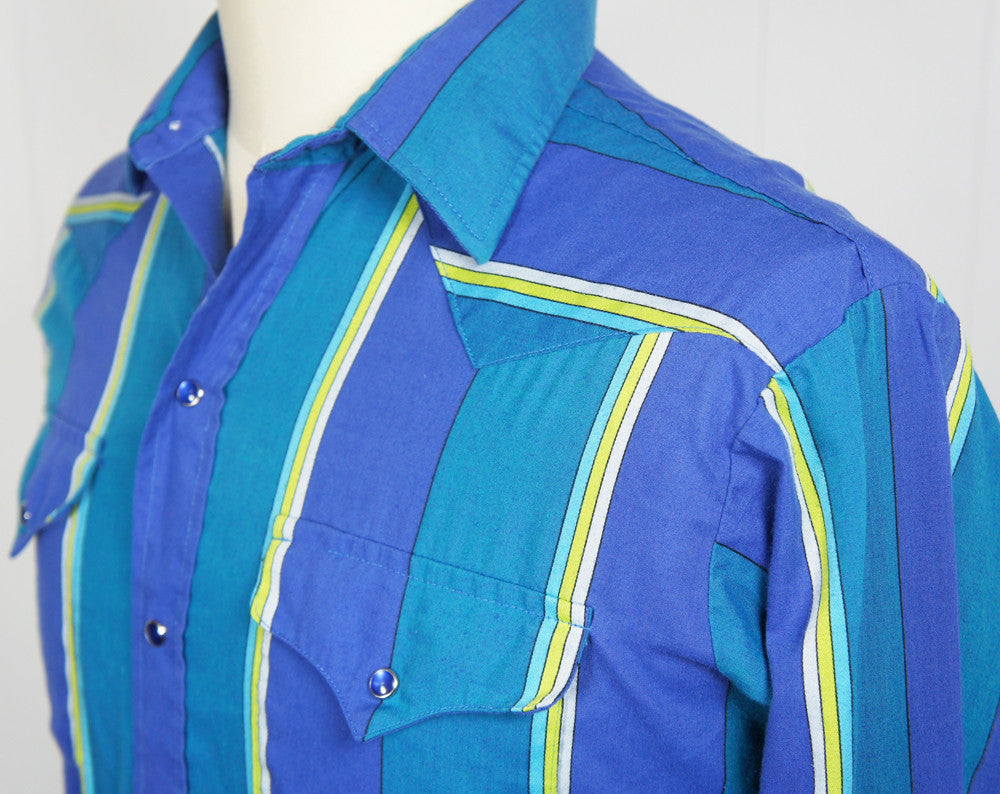 Blue & Bright Green Striped Western Pearl Snap Shirt - Size L