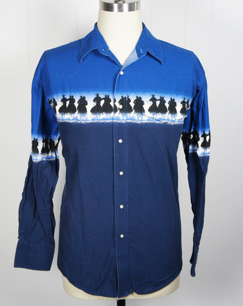 Blue Western Pearl Snap Shirt w/ Cowboys - Size XL