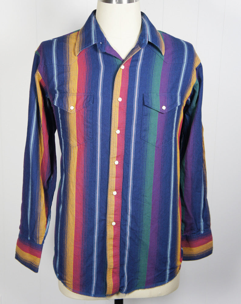 Rainbow Striped Western Pearl Snap Shirt - Size XL