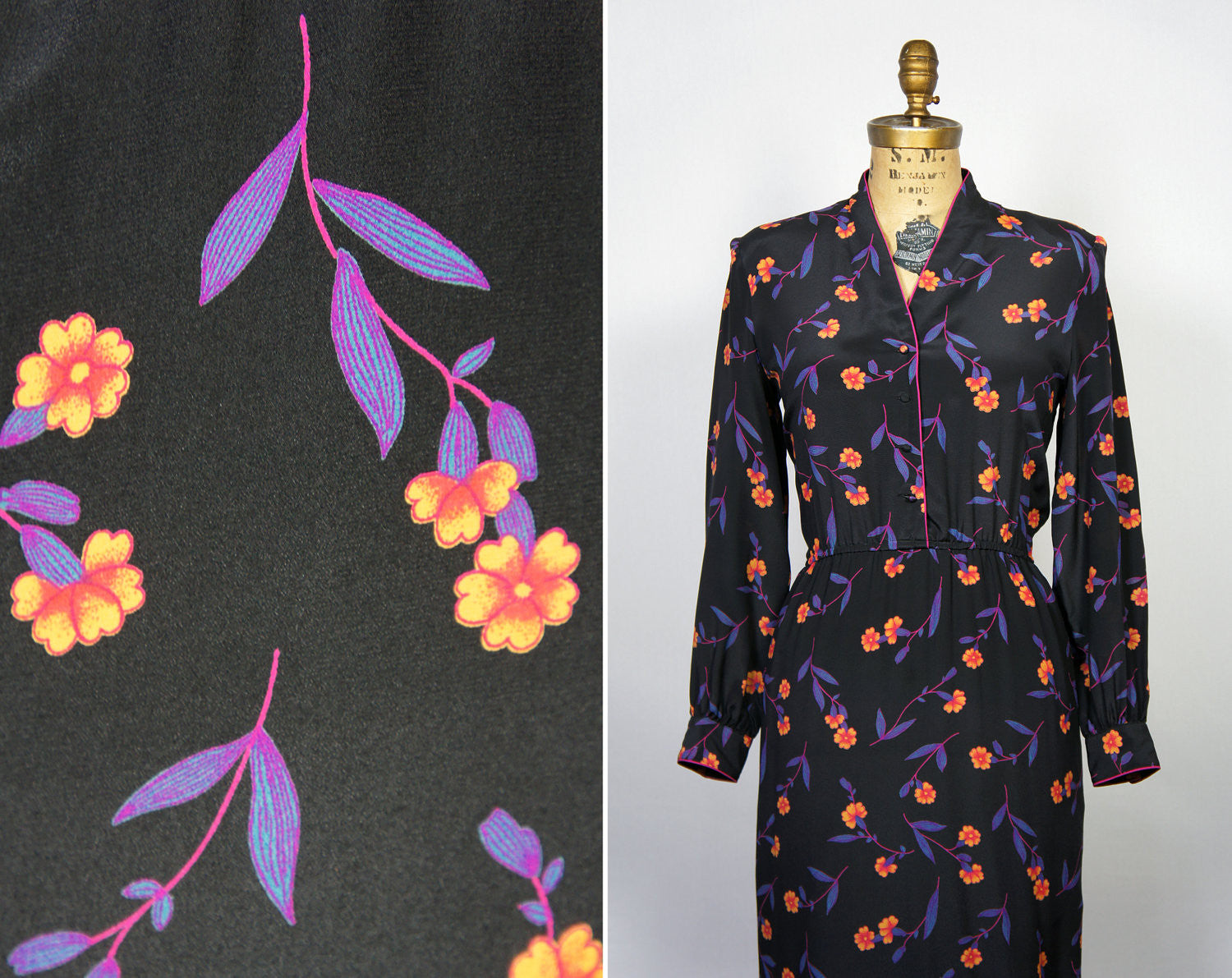 1980's Romantic Floral Black Dress - Size L