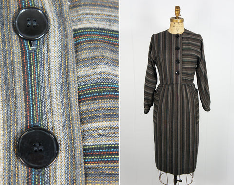 1970's Rainbow Striped Winter Secretary Dress - Size S