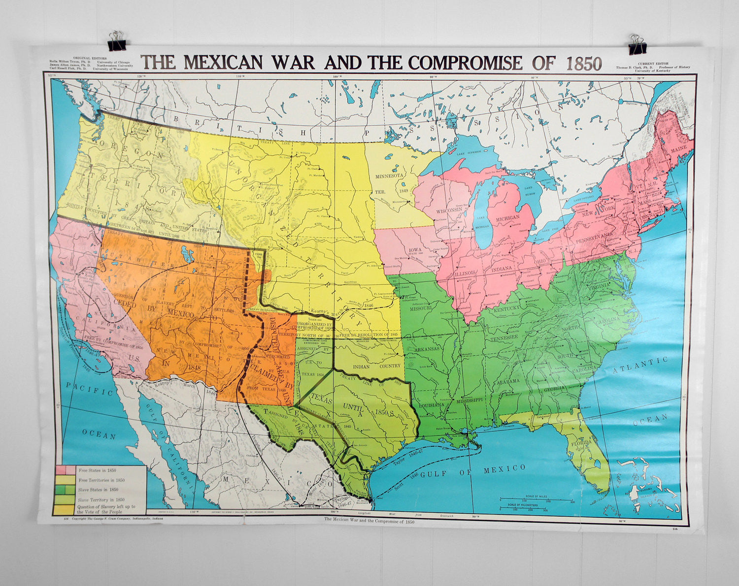 US History Wall Map Mexican War Compromise Of Hoof - 1850 map of us