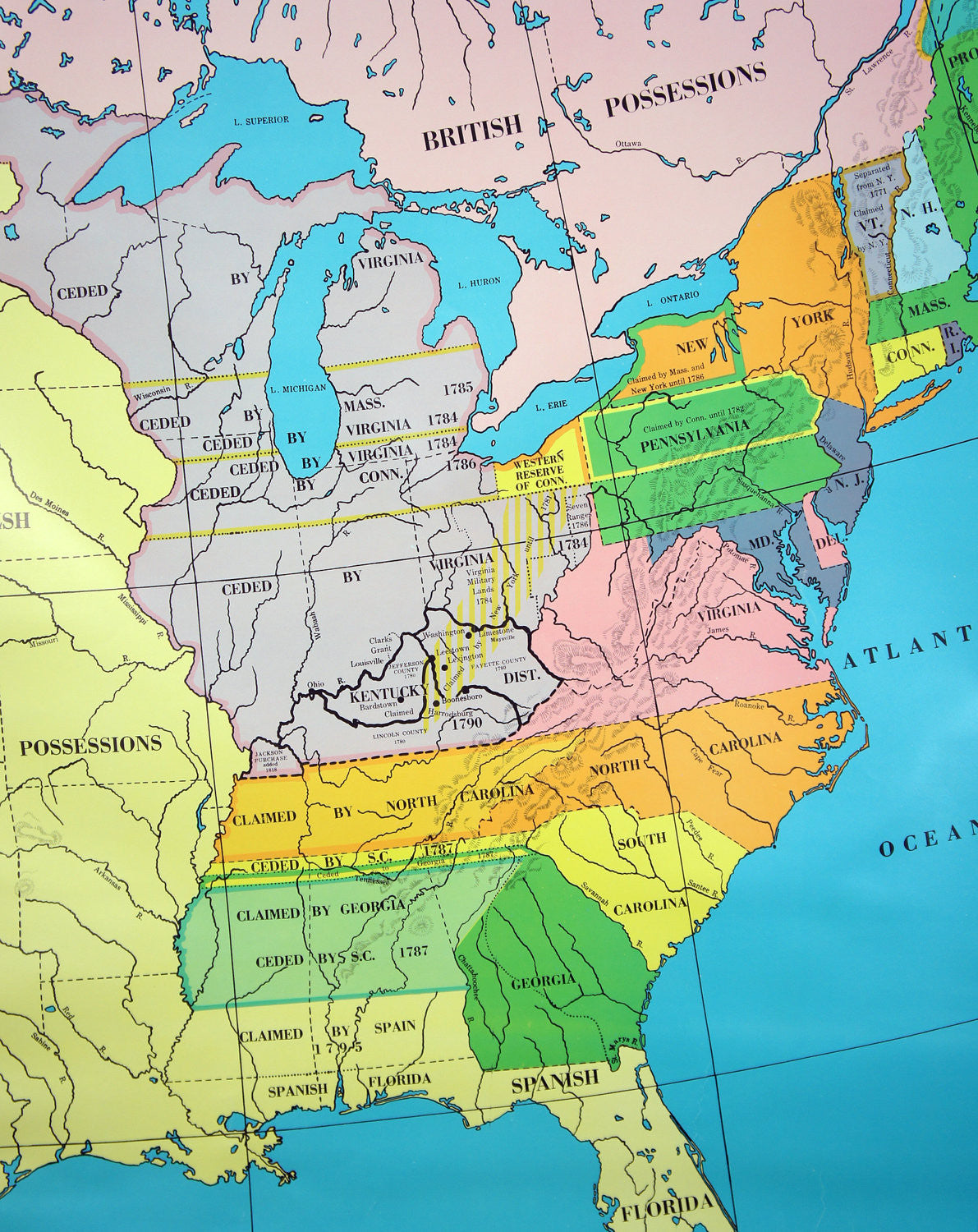 Vintage US History Wall Map Western Land Claims Ordinance of