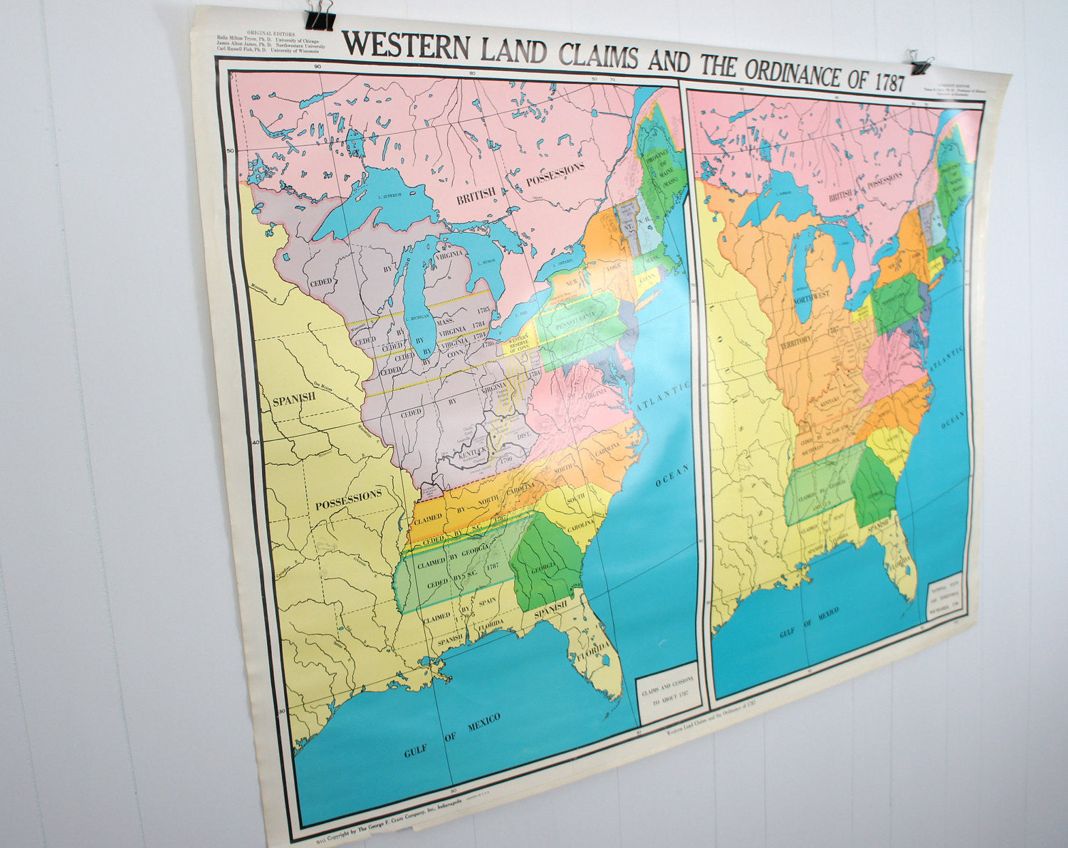 U.S. History Wall Map - Land Claims & Ordinance of 1787