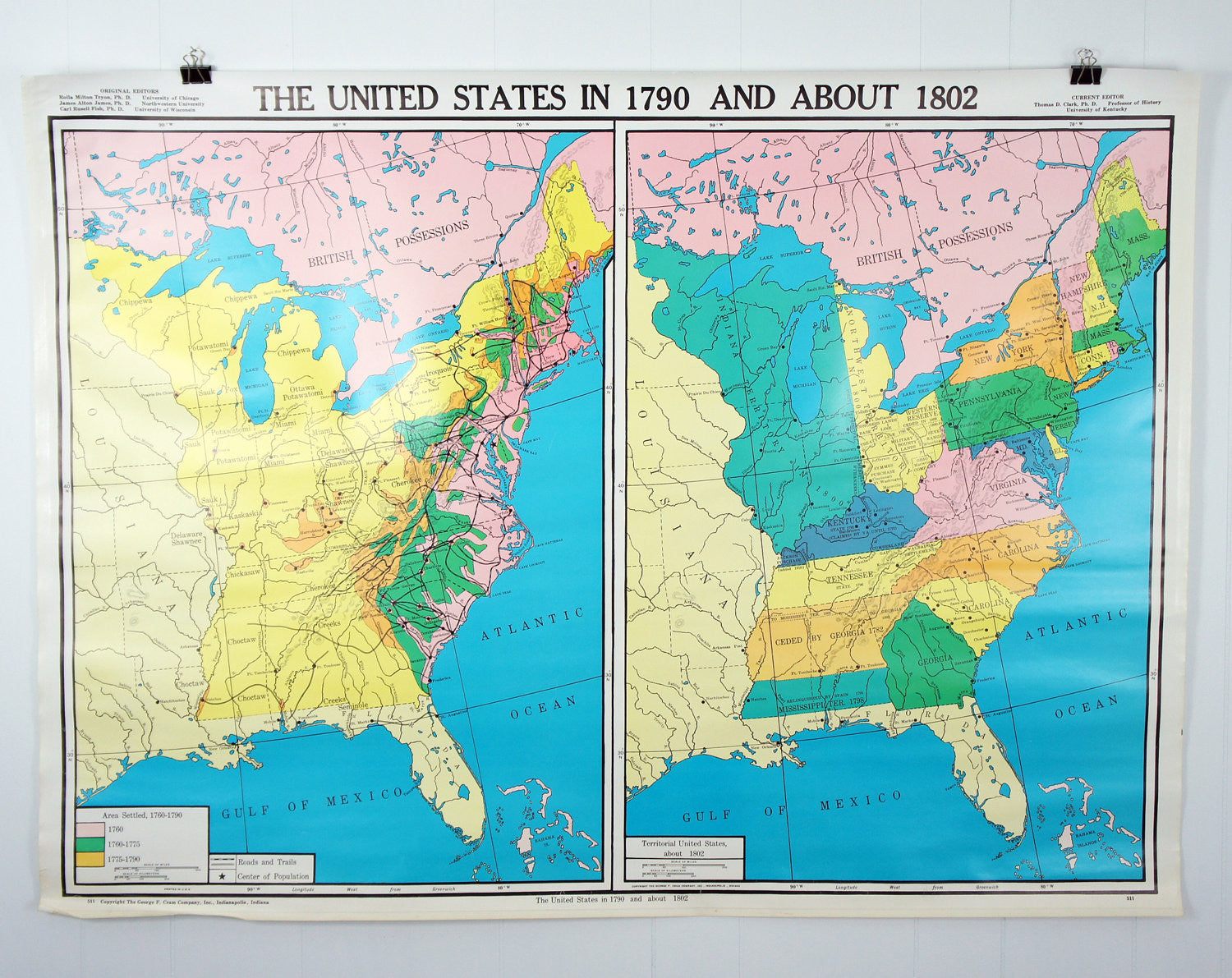 US History Wall Map The US In About Hoof Antler - The us map 1790
