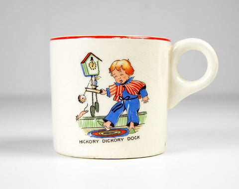 Early 1900's Hickory Dickory Dock Nursery Rhyme Coffee Mug