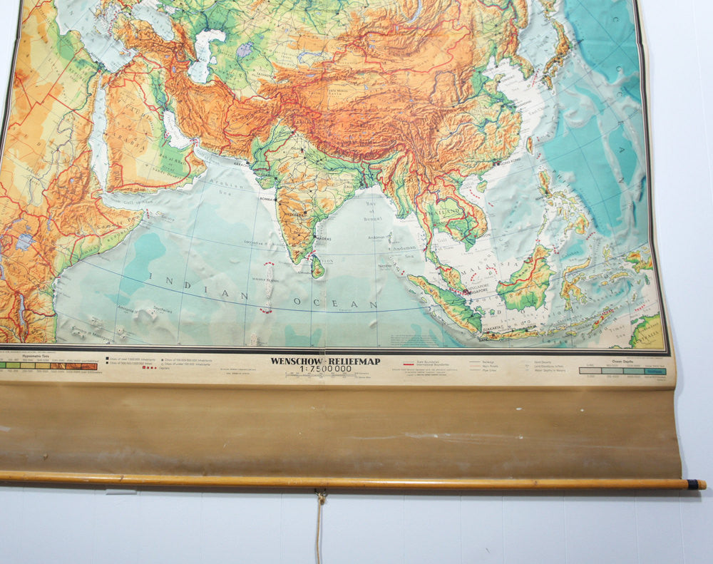 1960's Eurasia Pull Down Classroom Map