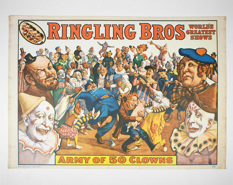 1960's Barnum & Bailey Circus Print - Army of 50 Clowns