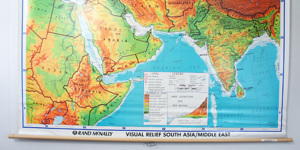 1980's South Asia & Middle East Pull Down Classroom Map