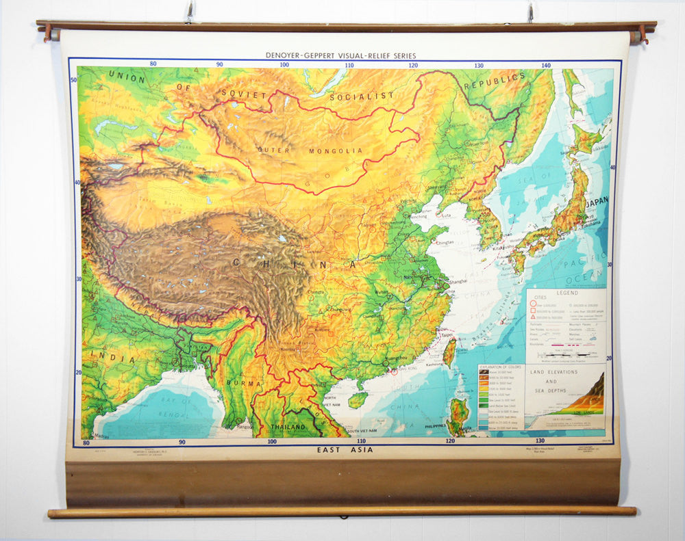 1960's East Asia Pull Down Classroom Map