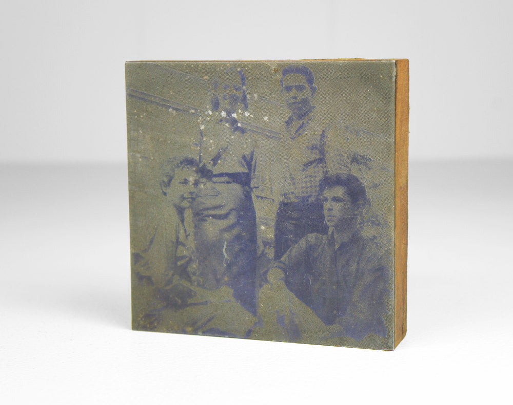 1950's Wooden Printer's Block - Portrait of Four Students