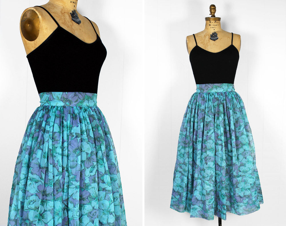 Lilac & Blue Floral Sheer Skirt - Size S