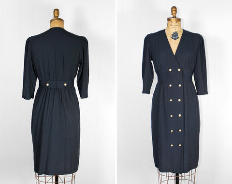 Navy Blue Secretary Dress - Size S