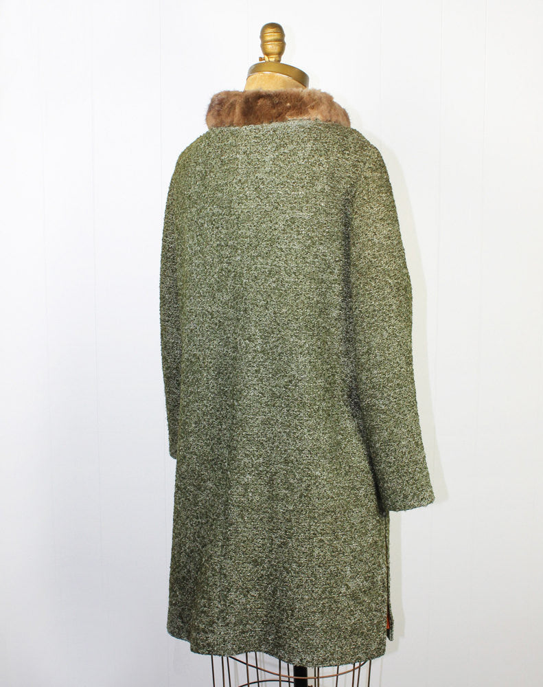 1960's Green Tweed Coat with Fur Trim Collar - Size L / XL