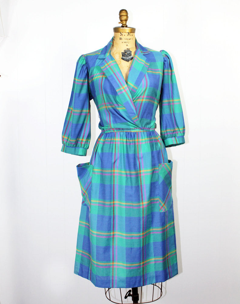 Plaid Teal Cropped Sleeve Secretary Dress - Size L