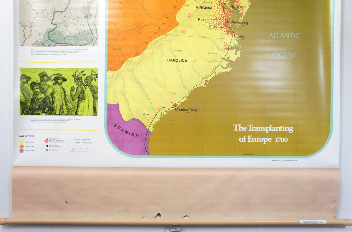 1980's Pull Down Classroom Map - The Transplanting of Europe