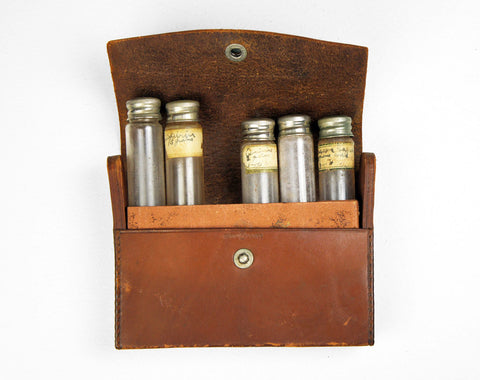 1800's Physician's Medical Travel Pouch w/ Apothecary Vials