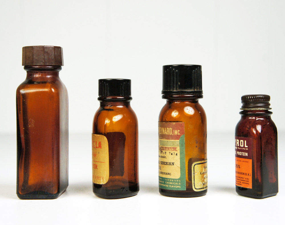1930's/1940's Amber Medicine Bottles - Set of Four