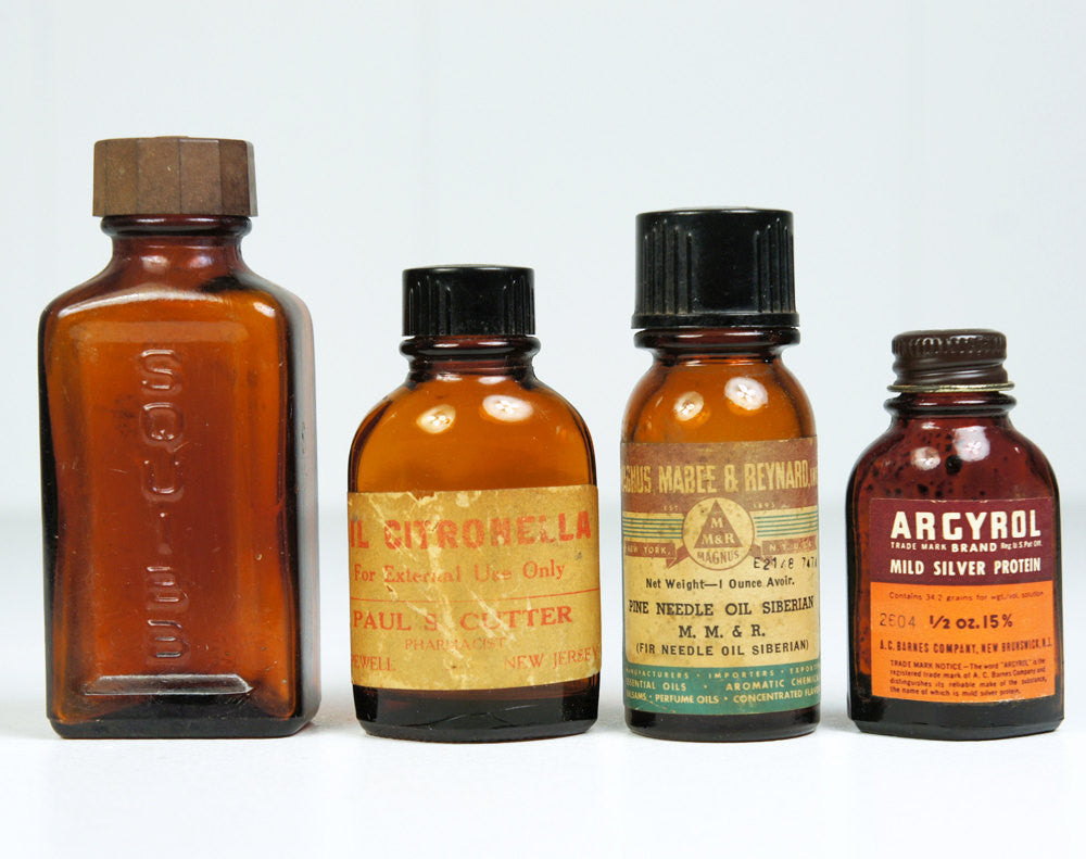 1930 S 1940 S Amber Medicine Bottles Set Of Four Hoof